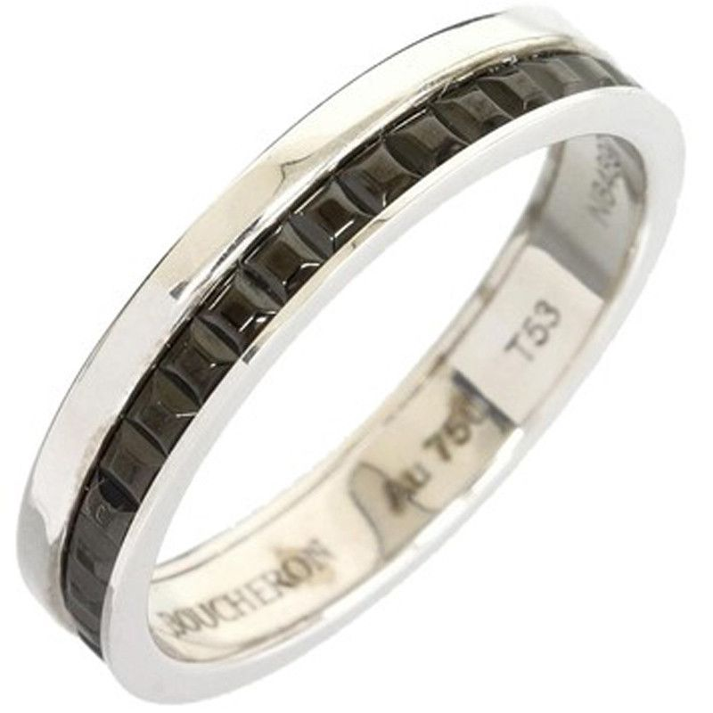 Boucheron 18k White Gold Cattle Band Ring Us Size 6 5 With Box Cert