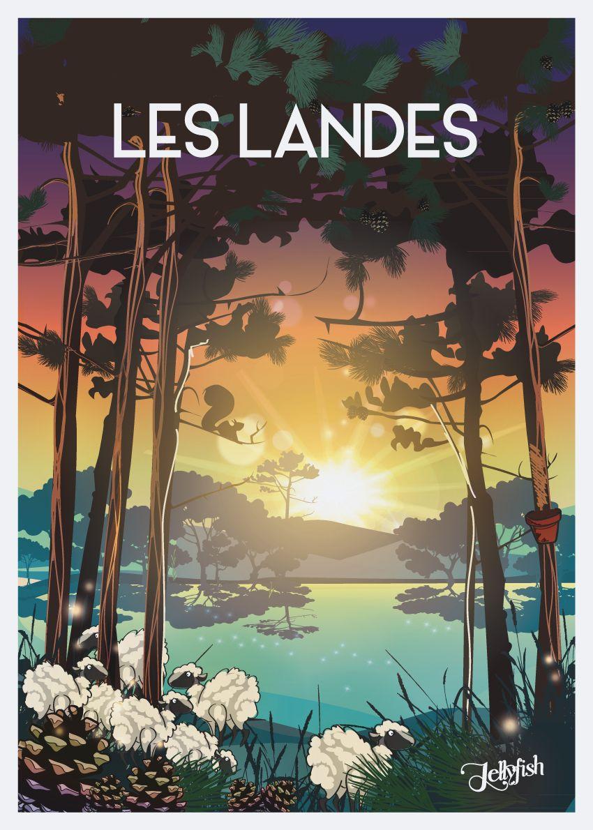 Affiche Les Landes Travel Posters Retro Travel Poster Vintage Poster Design