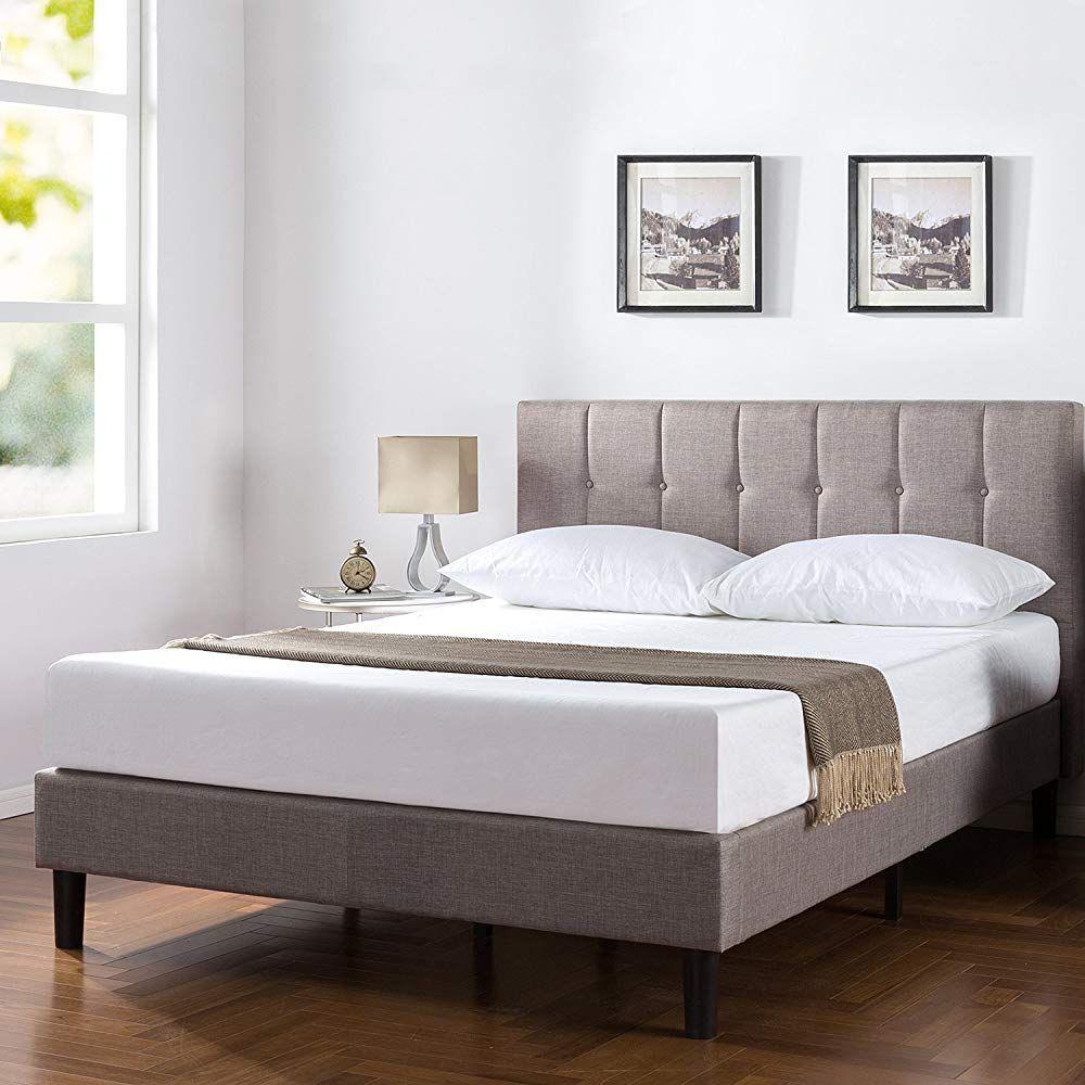 Zinus Upholstered Vertical Detailed Platform Bed In Grey King