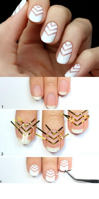 Geometryczne pazurki - krok po kroku | paznokcie | Pinterest ...