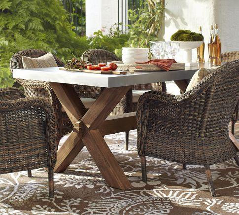Abbott Zinc Top Rectangular Fixed Dining Table Pottery Barn