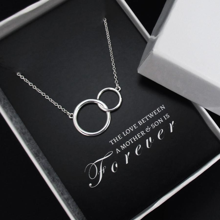 Mother son necklace sterling silver eternity circles