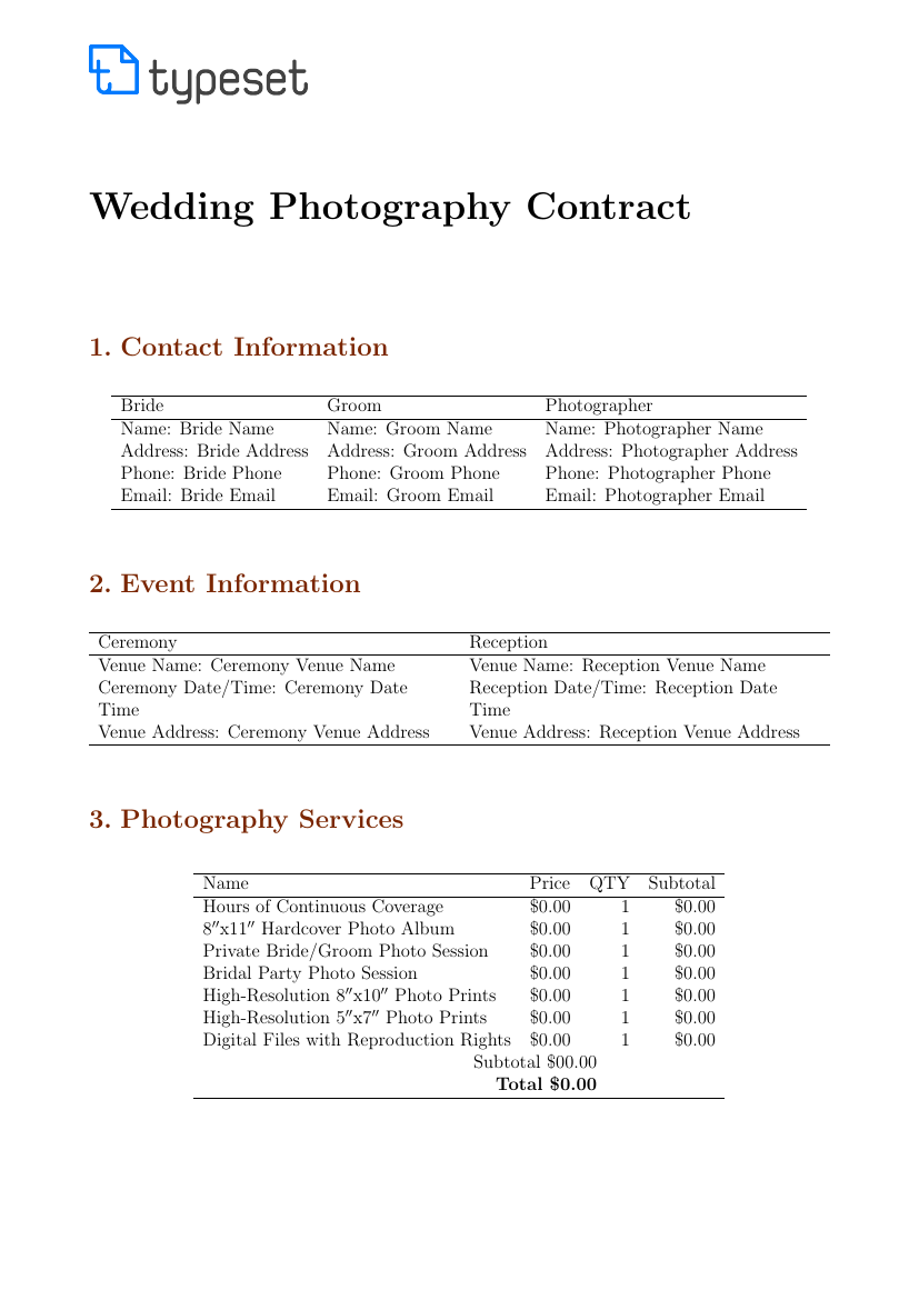 9 Examples of Wedding Photography Contract Template