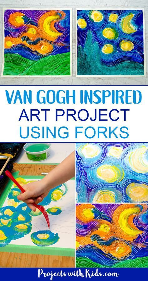 Paint a Stunning Van Gogh Masterpiece Using Forks #summerfunideasforkids