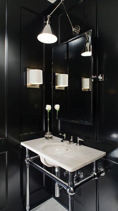 Amazing Powder Room With Glossy Black Wood Paneled Walls 2