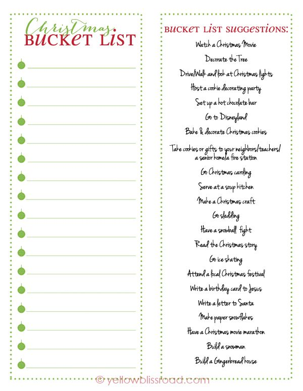 Christmas Bucket List Free Printable  Free Printable Buckets And