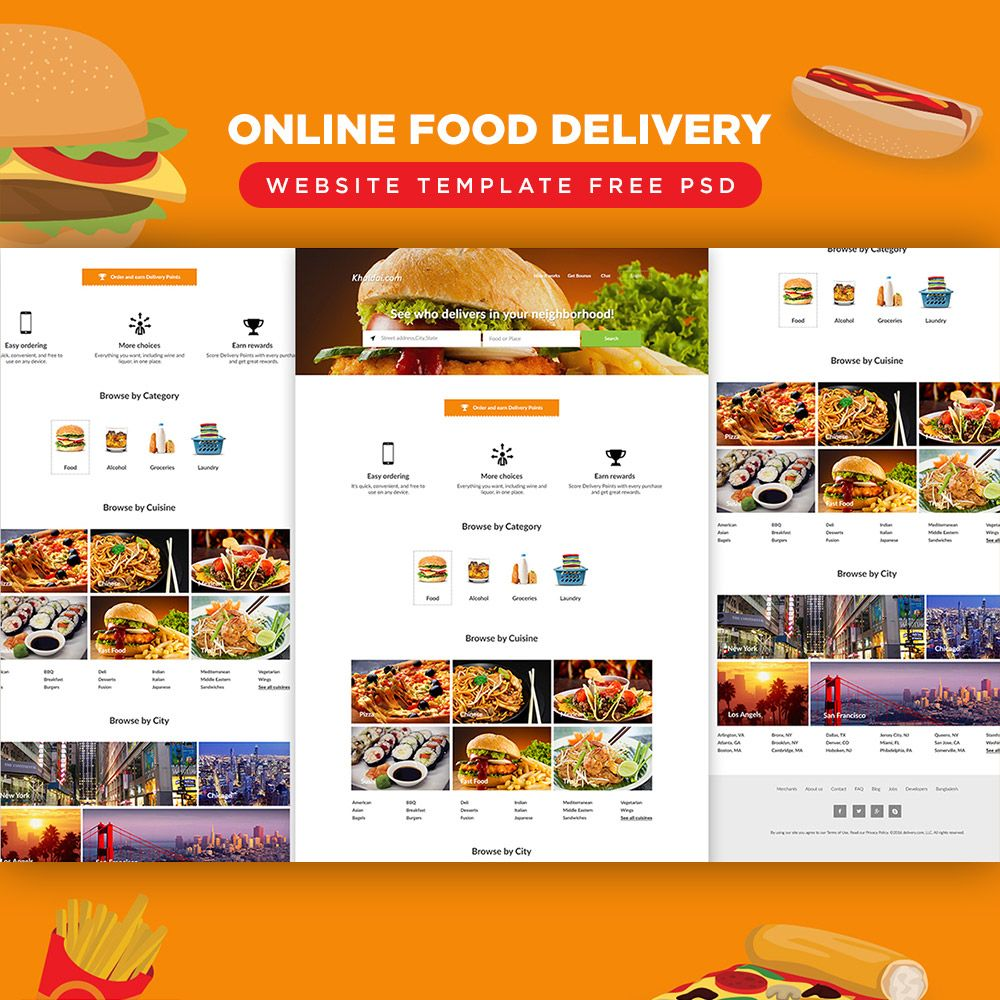 Download Online Food Delivery Website Template Free PSD. A