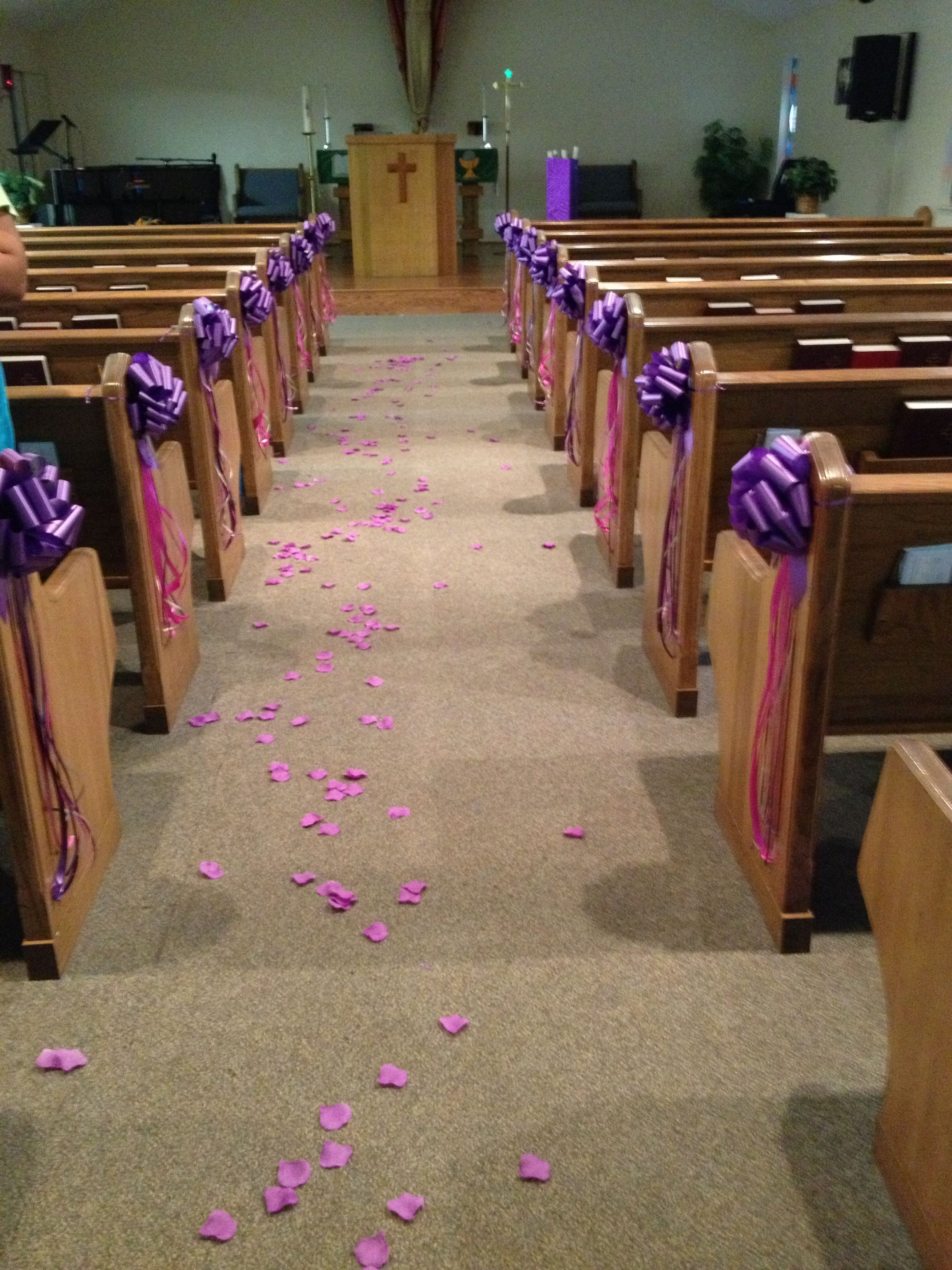 This is how i decorated the church benches for my daughters this is how i decorated the church benches for my daughters quinceanera pew bows with junglespirit Choice Image