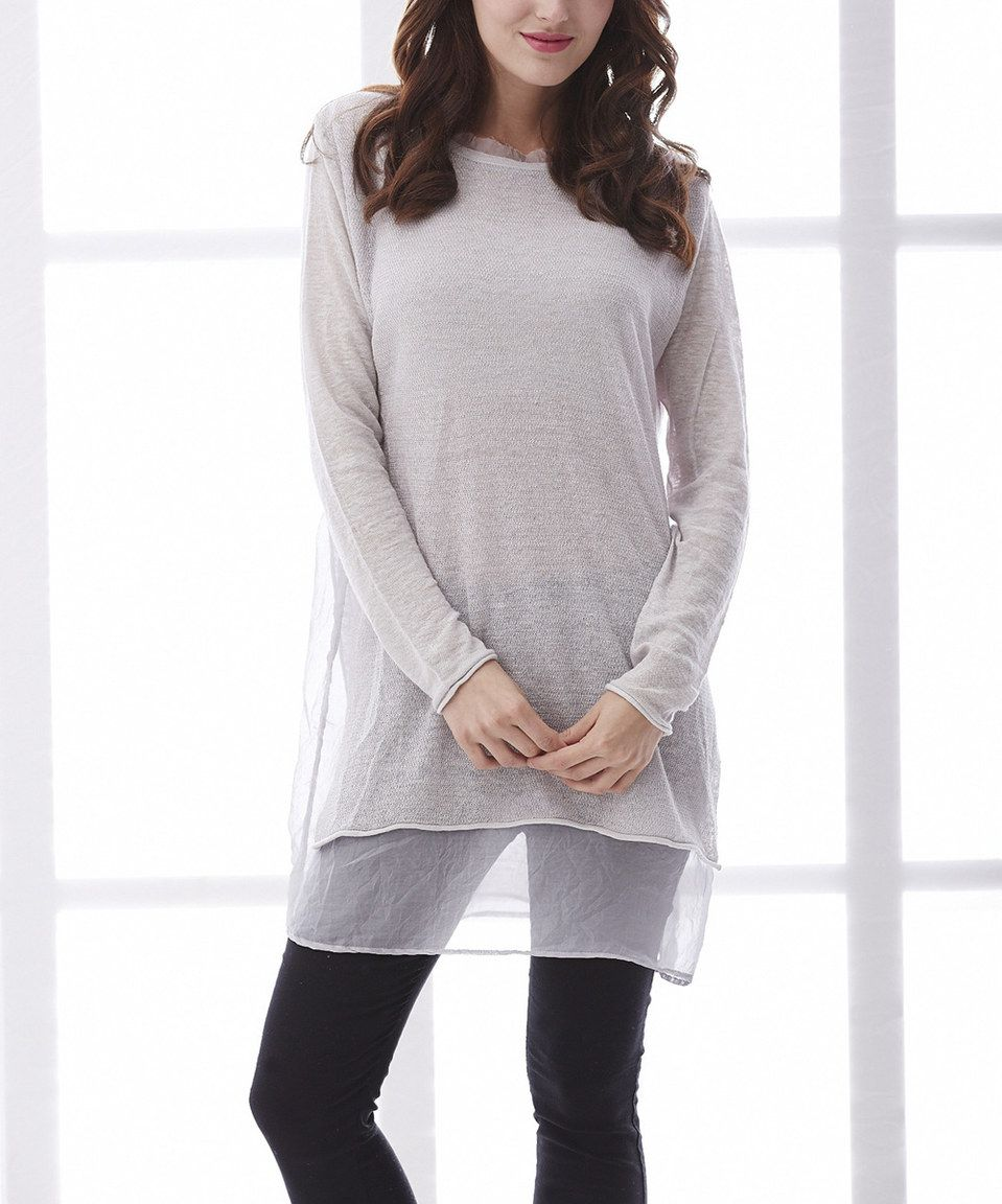 Simply Couture Gray Linen Long-Sleeve Top by Simply Couture #zulily #zulilyfinds