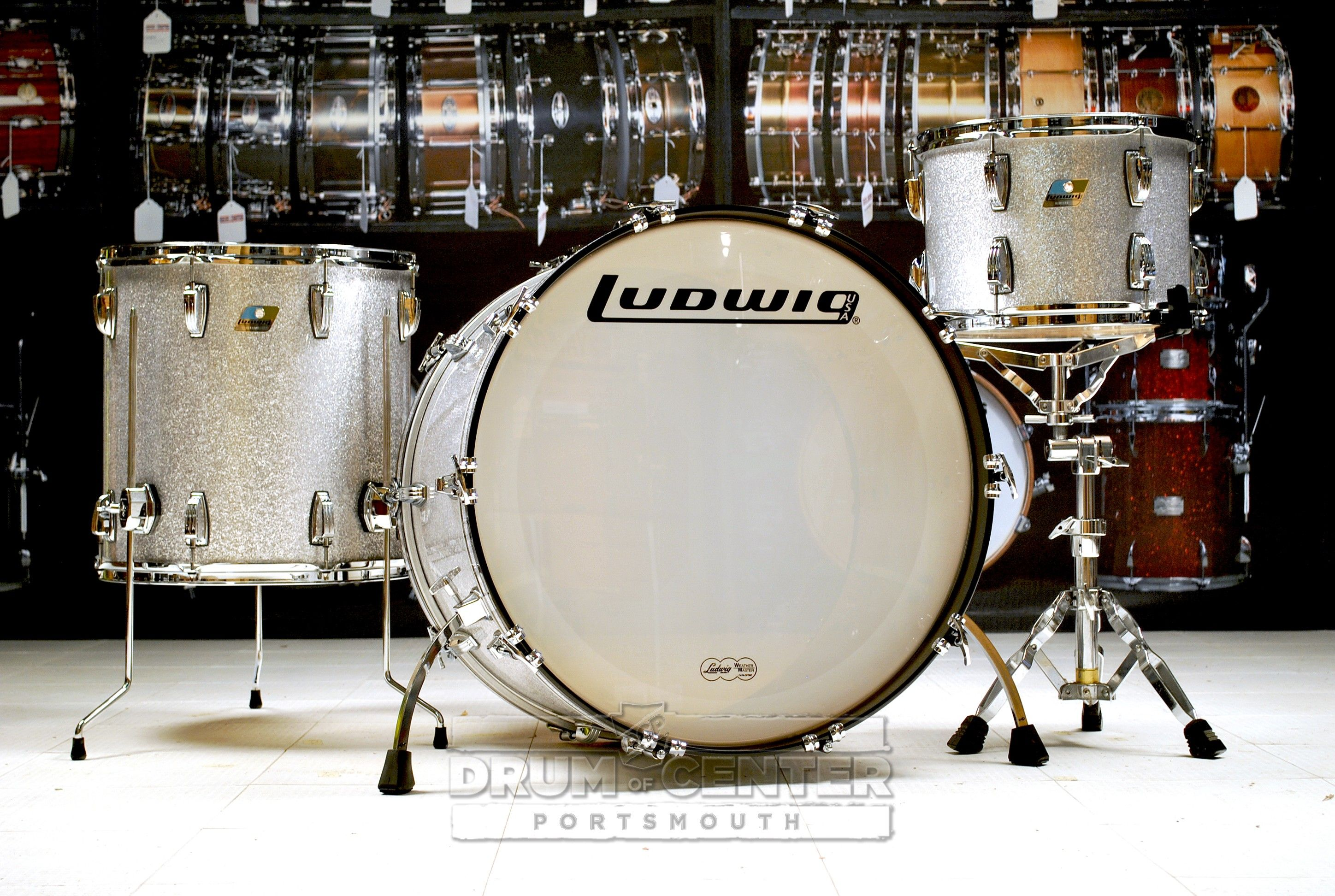 ludwig classic maple 3pc drum set silver sparkle custom made in the usa 24x14 kick with curved. Black Bedroom Furniture Sets. Home Design Ideas