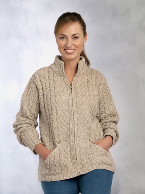 7a44c2902 Aran Crafts Irish Aran Wool Sweater Womens Cable Knit Hip Length Zip ...