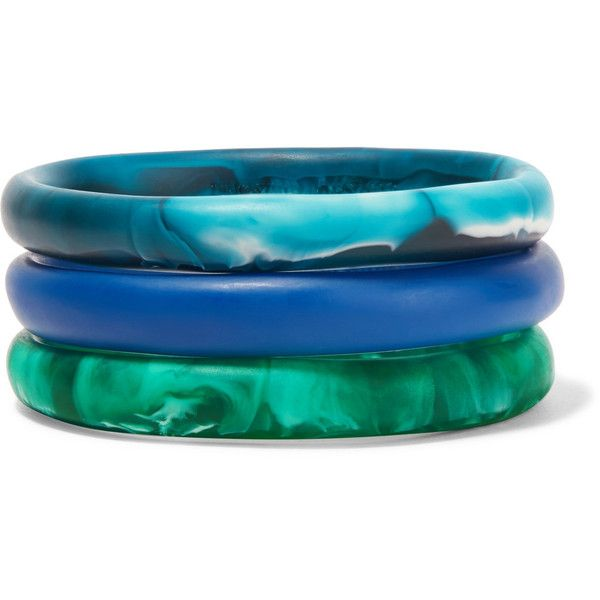 Dinosaur Designs Wishbone Set Of Three Resin Bracelets 115 Liked On Polyvore Featuring Jewelry Blue