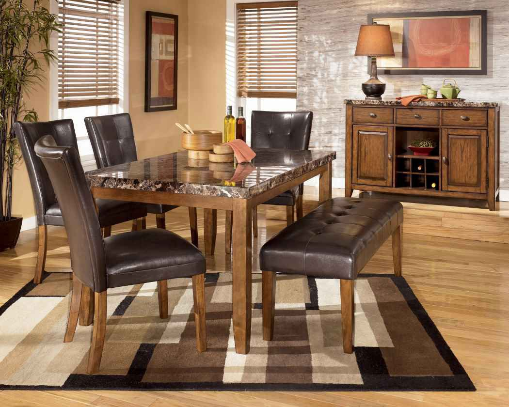 Lacey Rectangular Dining Room Table 4 UPH Side Chairs Large Bench By Signature Design Ashley Get Your