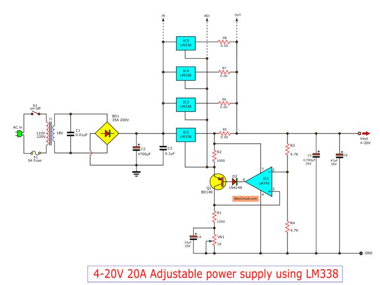 High current adjustable voltage regulator circuit, 0-30V ...
