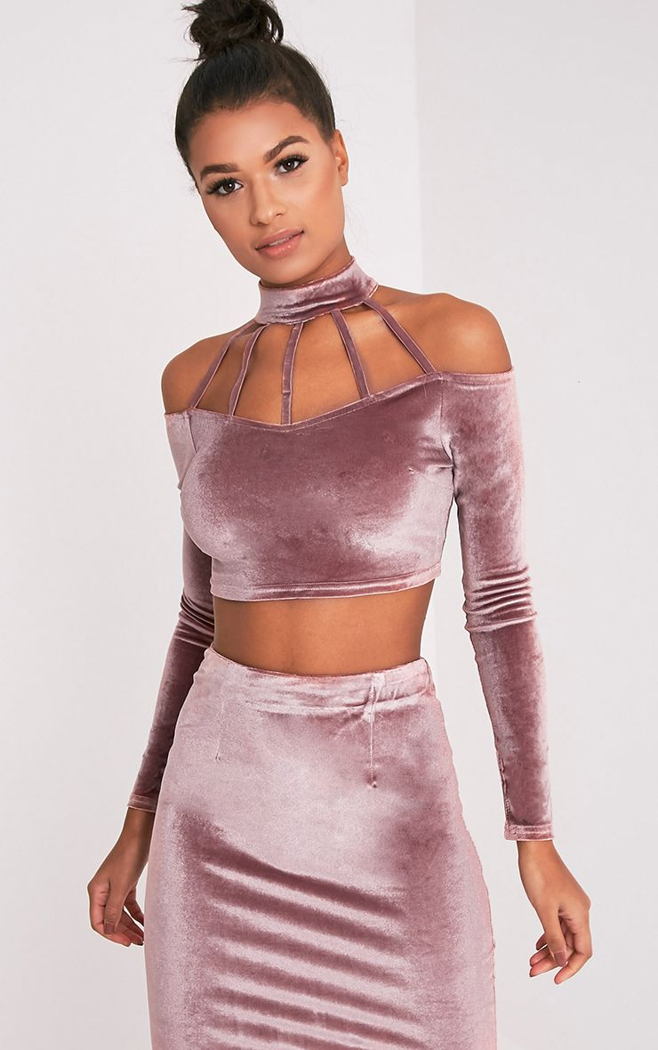 71c1ba07eda6c Whitney Pink Velvet Cold Shoulder Choker Crop Top