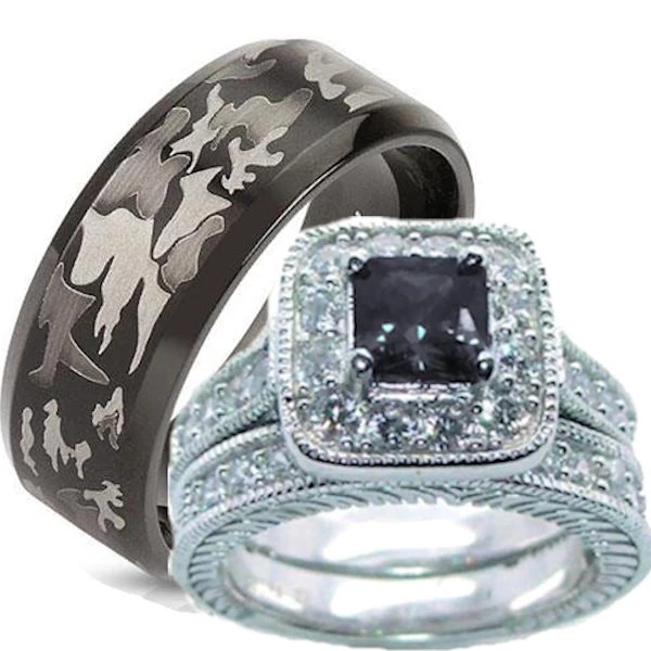 His Hers Wedding Ring Set Black Cz Sterling Silver and