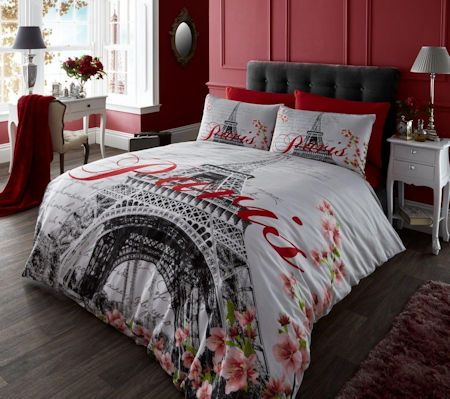 Elegant Paris Eiffel Tower Twin Full Queen Bedding Black White Red Duvet Cover Comforter