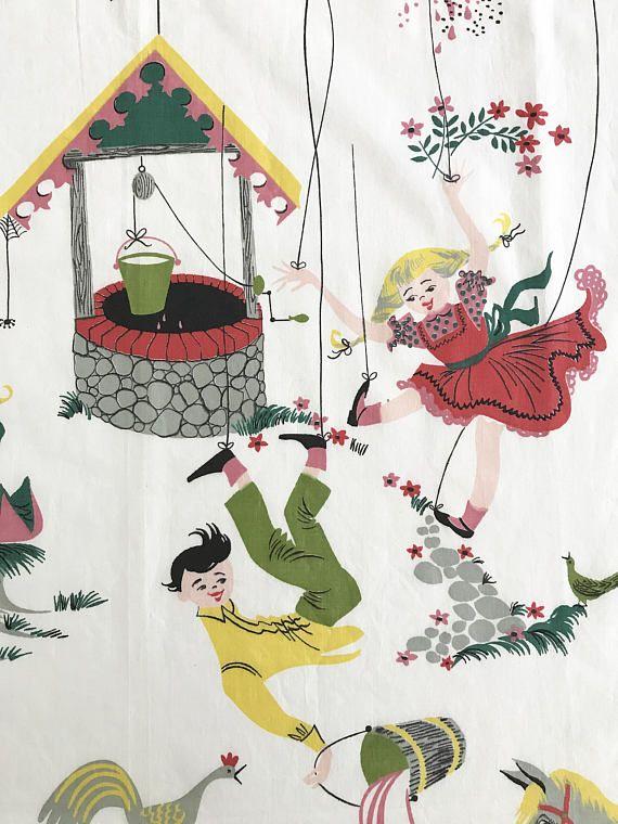 Vintage Juvenile Fabric Nursery Rhymes Jack And Jill Little Boy Blue Everglaze Chintz Material By Neatokeen On Etsy
