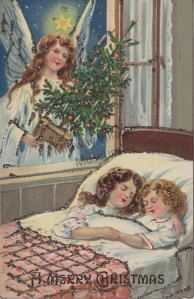 1910s Christmas angel postcard, vintage