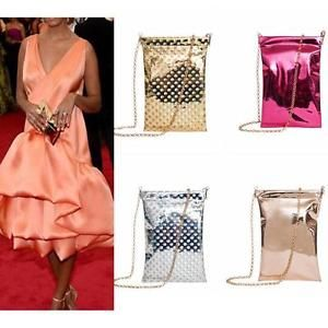 b385c308edc7 Hologram Gold Silver Chip Bag PU Leather Clutch handbag shoulder bag ...
