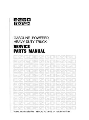 EZGO 25473G1 1989-1990 Service Parts Manual for Gas Heavy