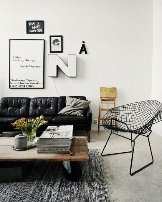 Living Room Design With Black Leather Sofa Entrancing Black Leather Couch With A Salvaged Wood Coffee Tablekinda Design Decoration