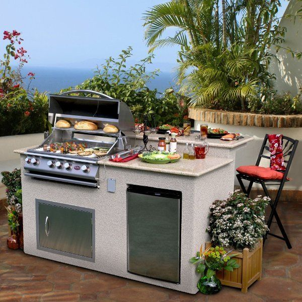 Small Portable Outdoor Kitchen Set With Marble Countertop Outdoor Kitchen Island Outdoor Kitchen Outdoor Kitchen Countertops