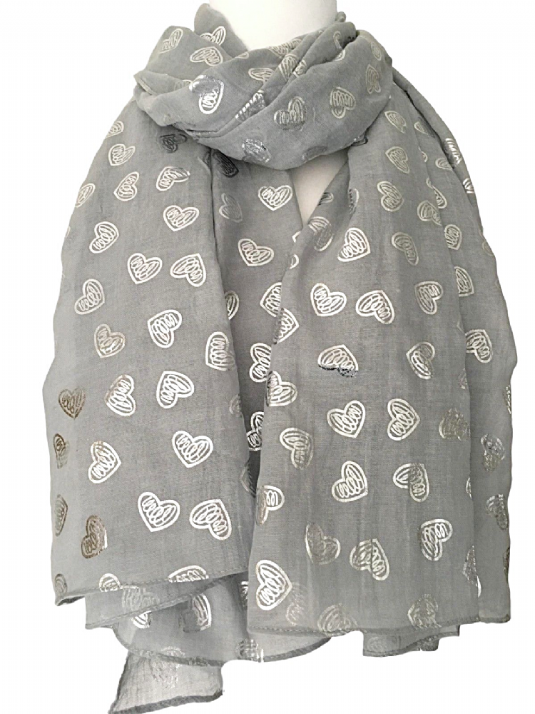Black Scarf Silver Love Hearts Ladies Sarong Wrap Shawl Sparkly Foil Heart Print