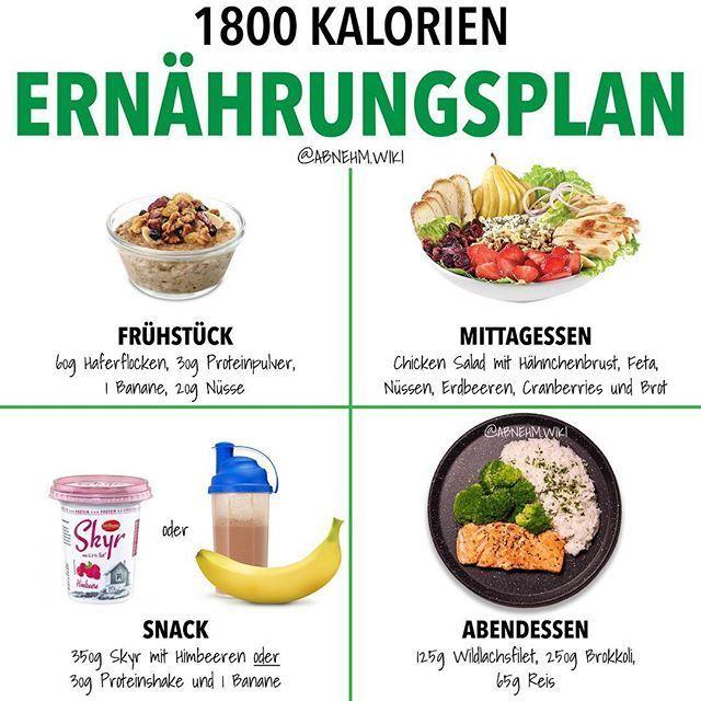 """FITNESS • ERNÄHRUNG • Abnehmen auf Instagram: """"KOSTENLOSER 1800-KALORIEN-ERNÄHRUNGSPLAN"""" von @).wiki..."""