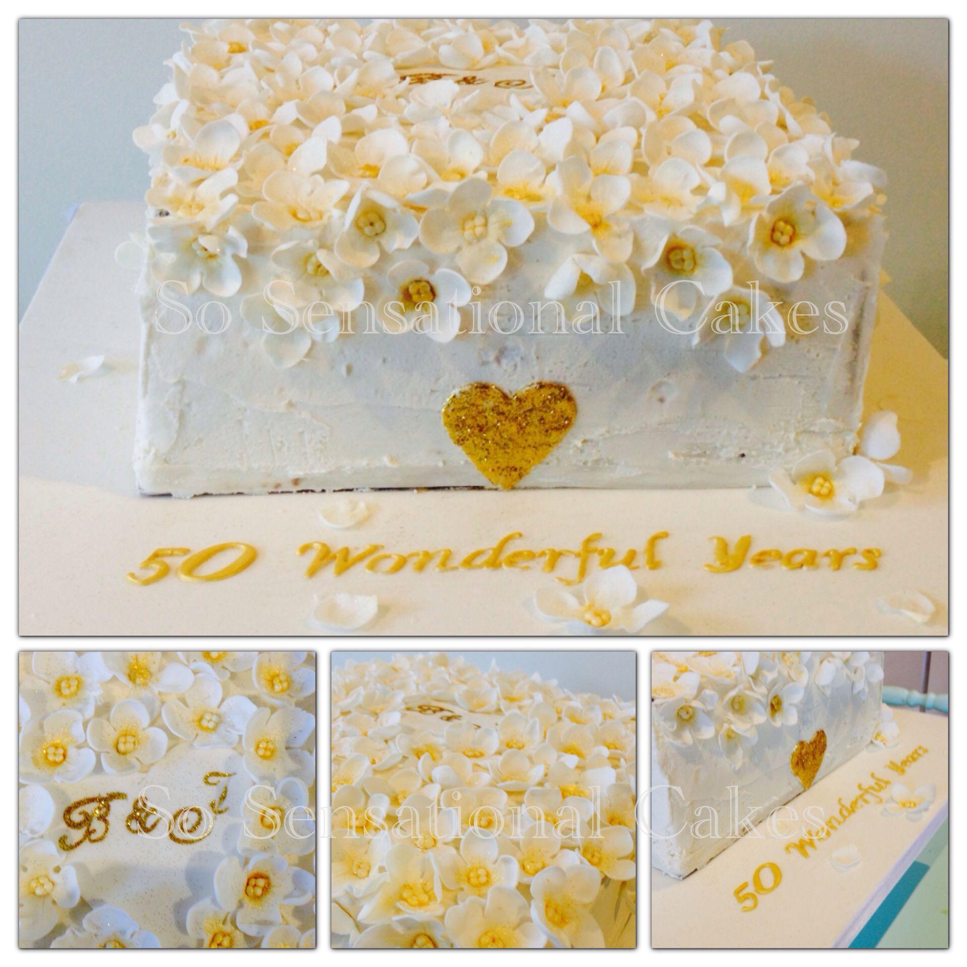 Golden wedding anniversary cake inspired by Zoe Clark www ...