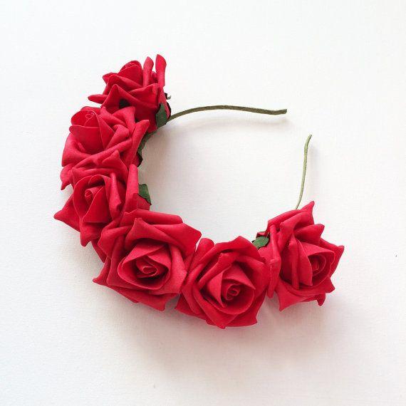 Red Velvet Rose Flower Crown Headband by CandyFlowerUK on Etsy