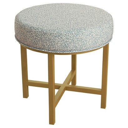 HomePop Circle Ottoman with Gold Metal X-Base