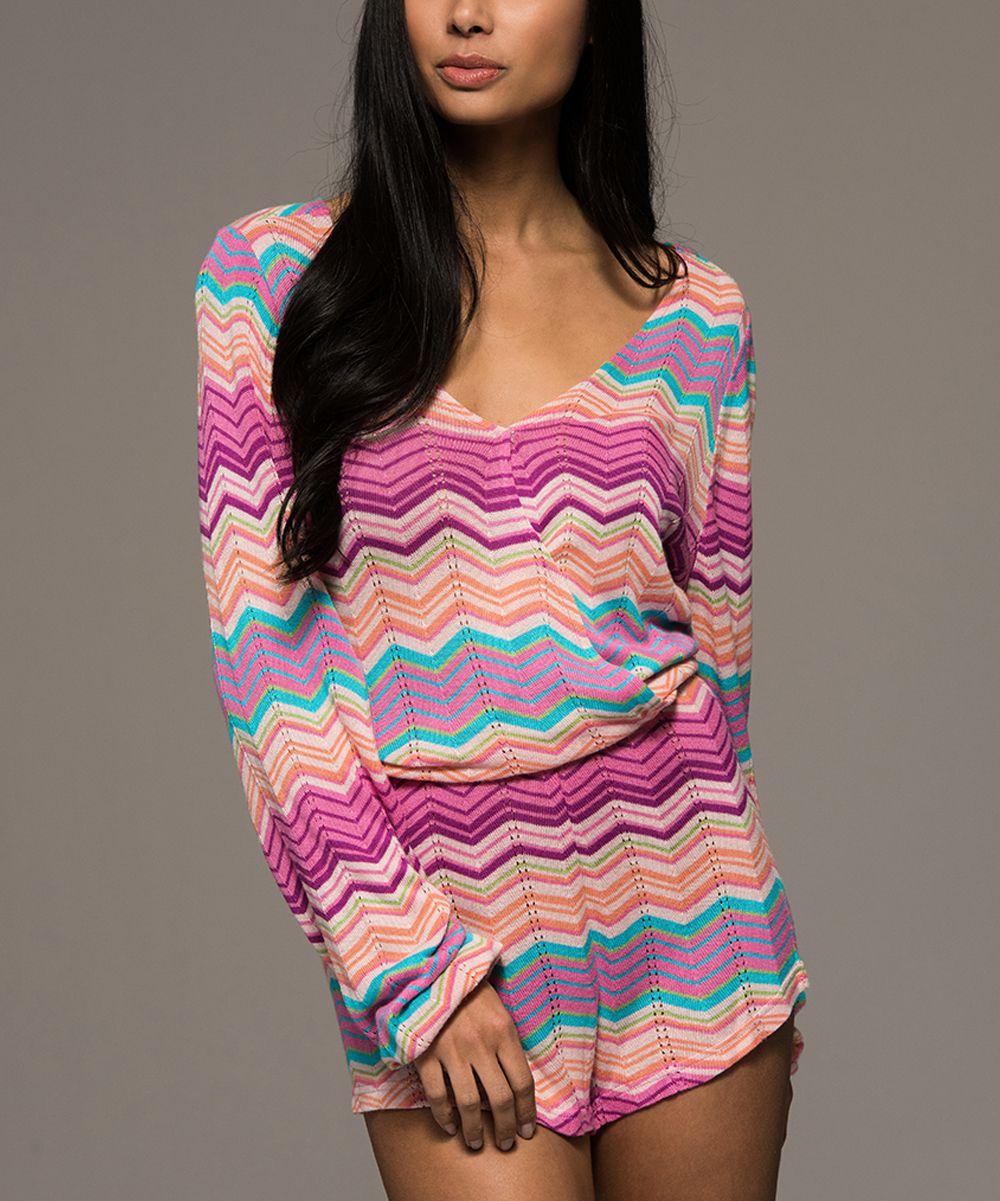 Pink & Coral Zigzag V-Neck Romper | Products | Pinterest