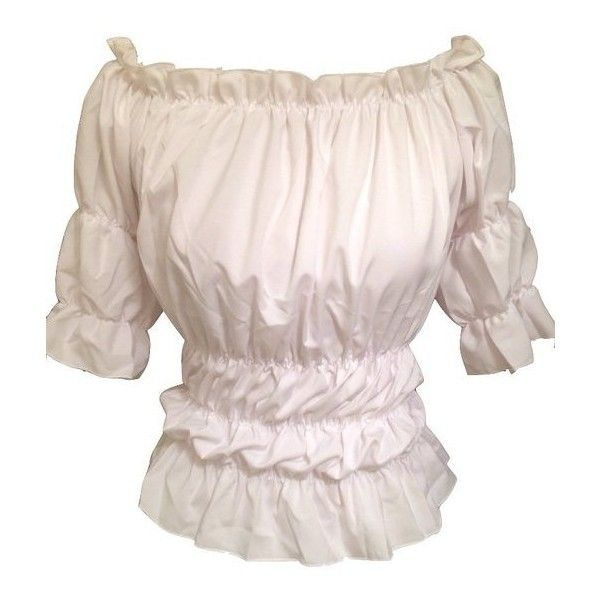 c9226f7115 White Gothic Peasant Gypsy Medieval Pirate Off Shoulder Wench... ( 22) ❤
