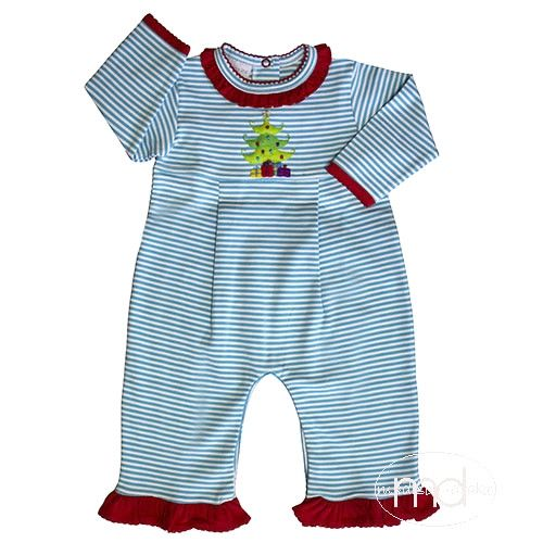 Squiggles By Charlie Girls Christmas Tree Turquoise Stripe Playsuit