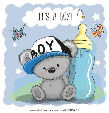 Cute Cartoon Teddy bear boy with feeding bottle | Dåp printables ...