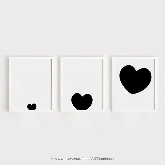 Printable Nursery Art Set of 3 Poster Heart - Baby room Wall art ...