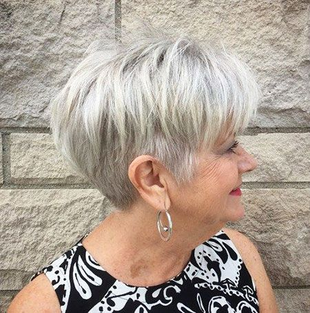 modern short hairtyle pixie gray over 60  chic short