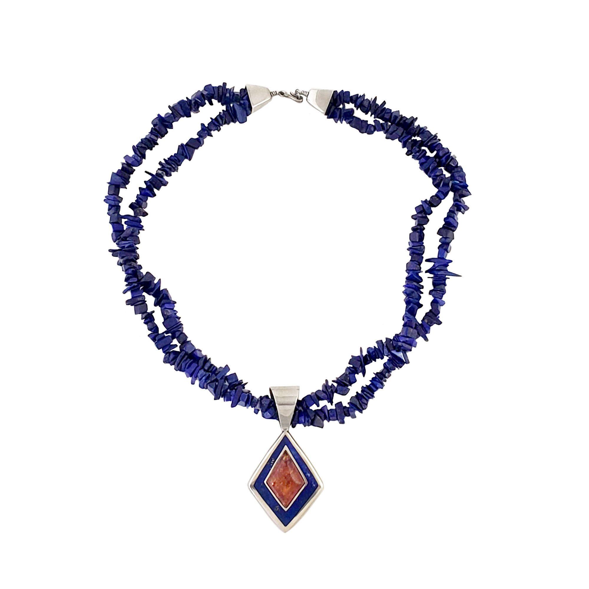 Natural Lazuli-Lapis /& Amethyst Quartz Silver Overlay Gemstone Jewelry Necklace 16-18/'/' Gorgeous !!