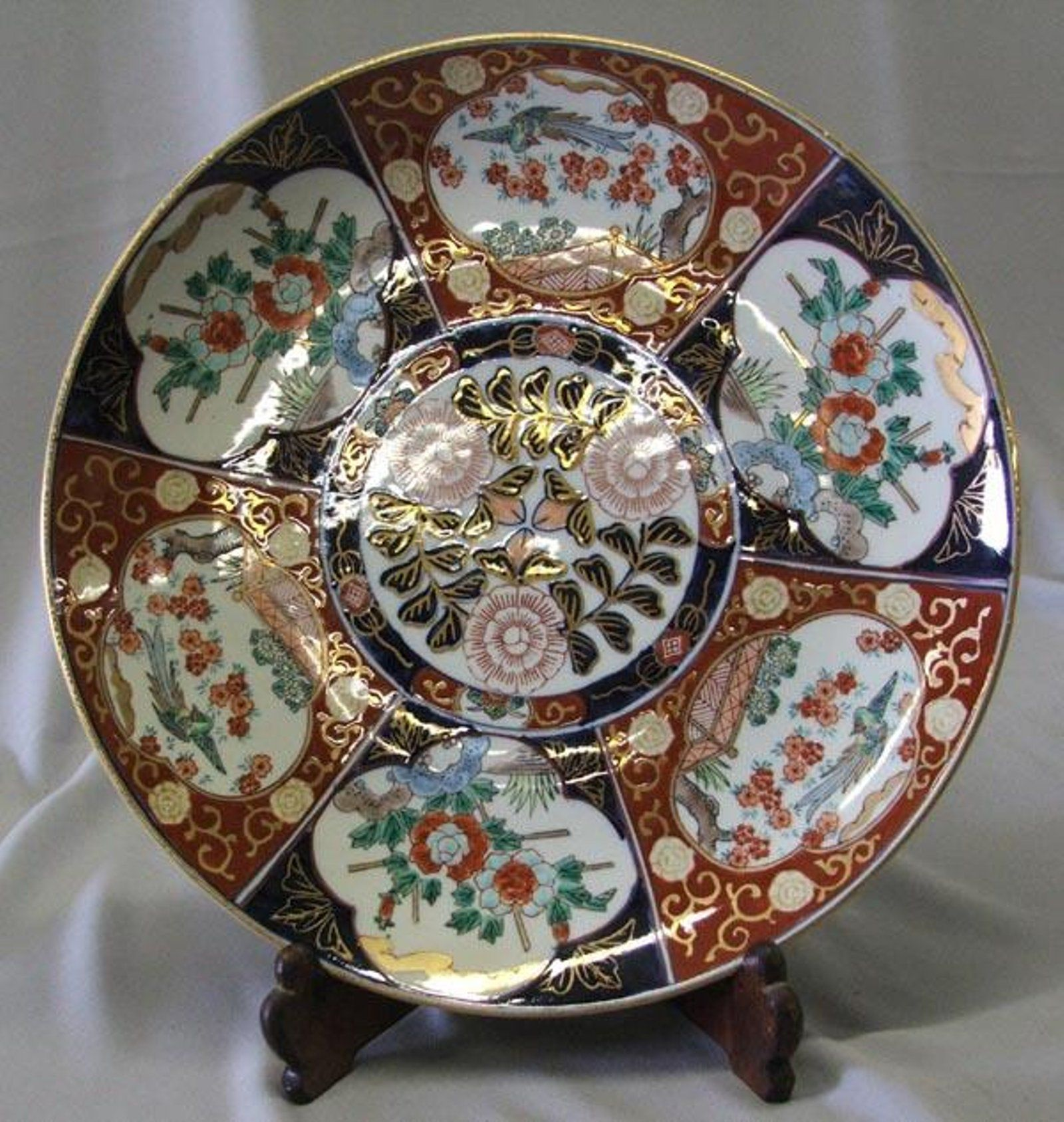 Oriental Hand Painted Gold Imari Plate With Stand & Oriental Hand Painted Gold Imari Plate With Stand on   Oriental and Gold
