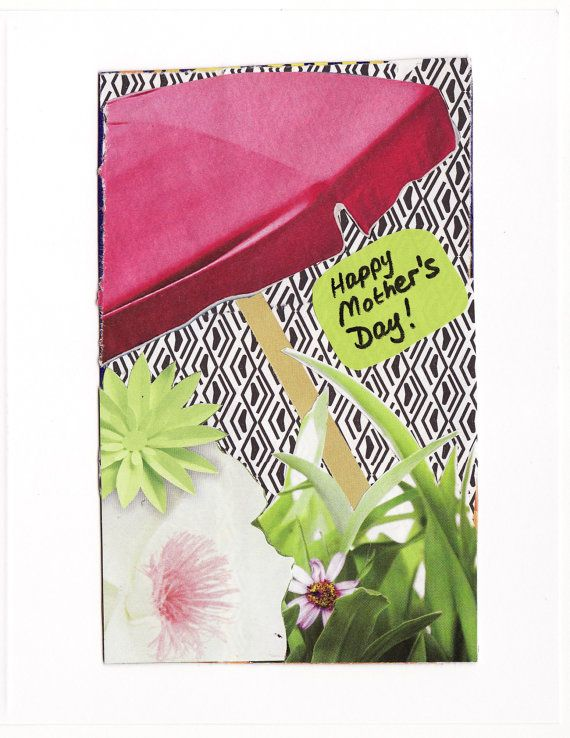Mother's Day card PINK UMBRELLA  original by MaterialWhirlCollage, $3.99