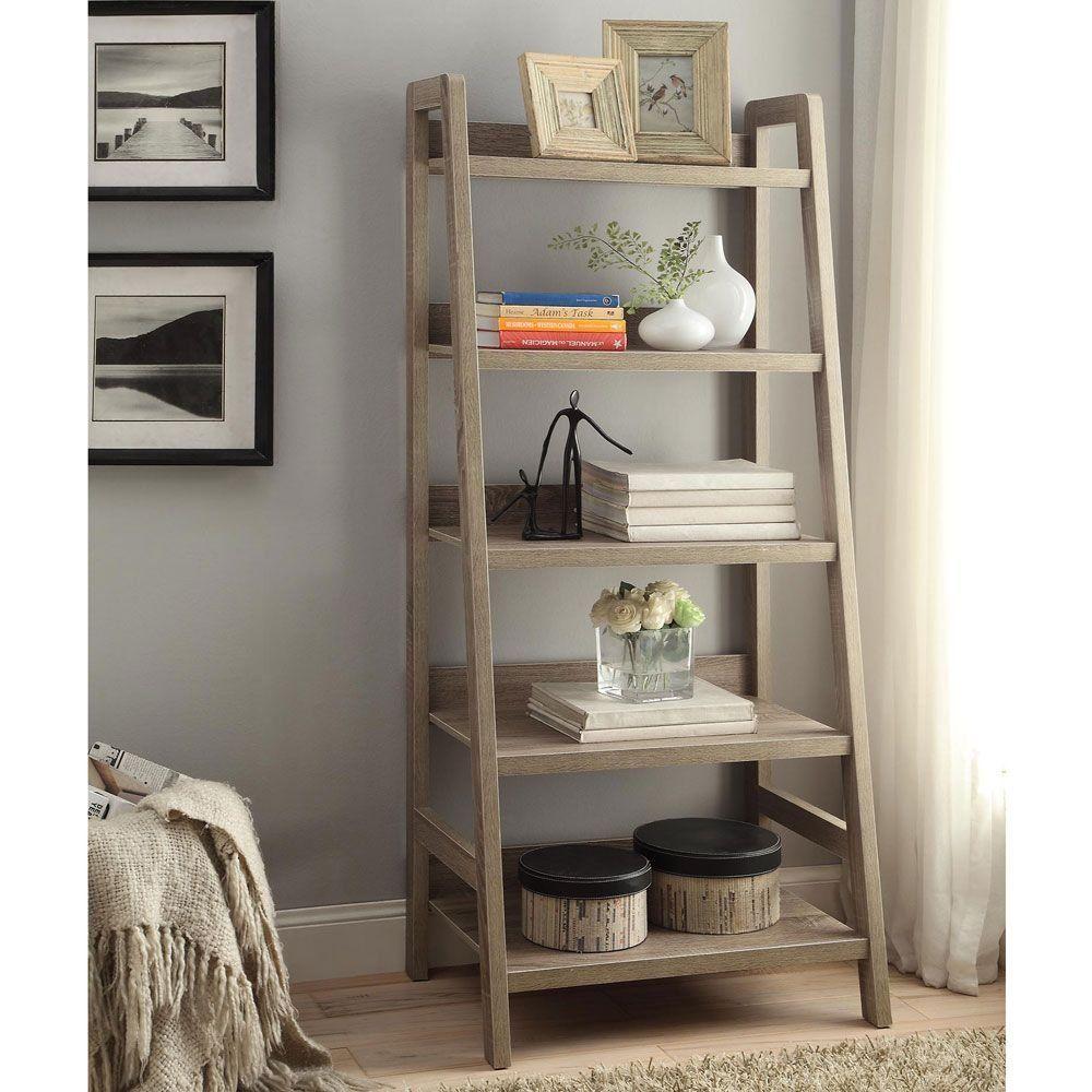 Shelf ladder bookcase living room style u decor pinterest