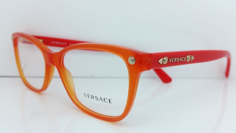 95dc70ea2c23 New Versace Eyeglasses Mod 3190 5100 Orange Made In Italy 54MM  VERSACE