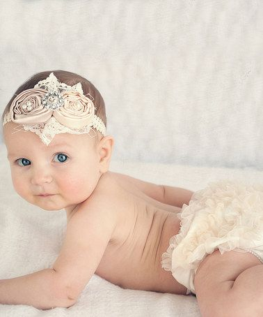 Loving this Ivory   Champagne Diaper Cover   Headband - Infant on  zulily!   zulilyfinds 217c2d3e3e6