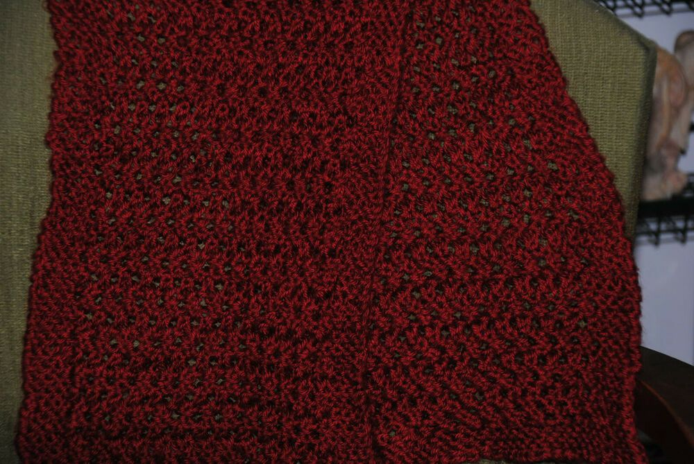 Photo of Red Autumn Lace Knit Scarf    9″ x 45″ #Handmade #Scarf