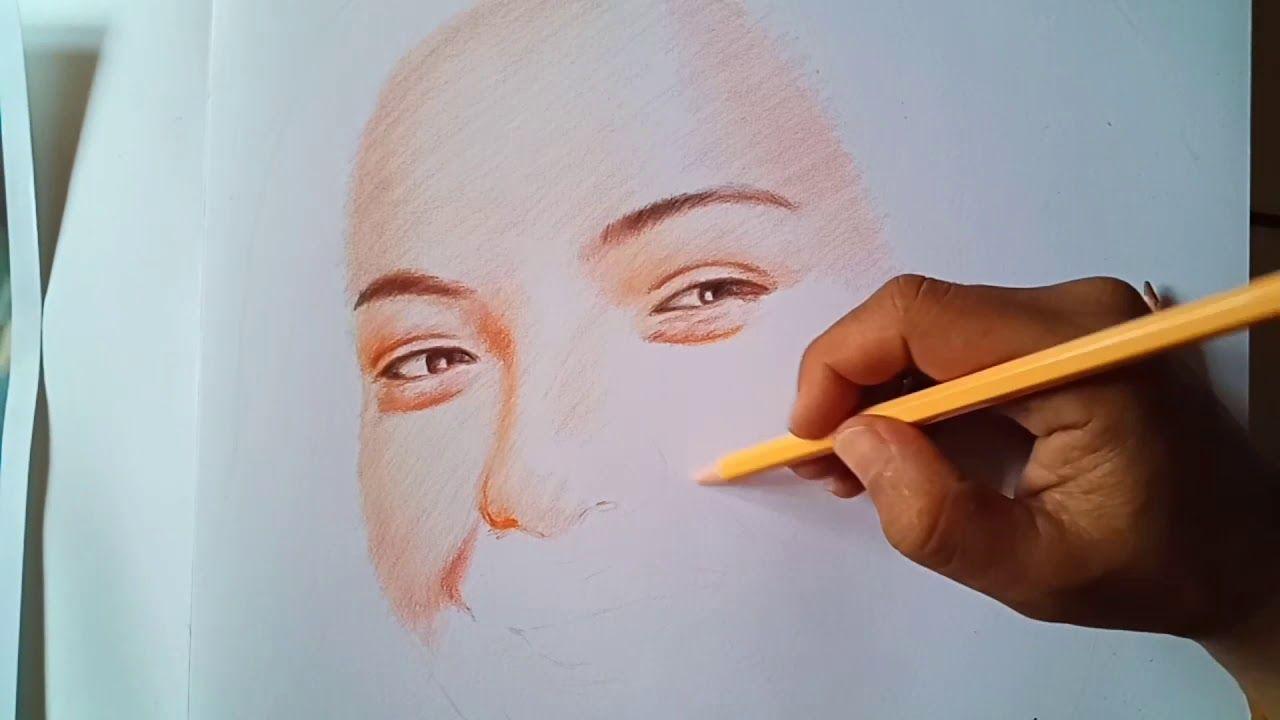 Cara Mewarnai Lukisan Wajah Dengan Pensil Warna Dengan