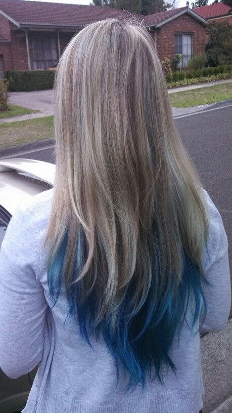 So I Went And Got Blue In My Hair The Whole Underneath Layer Panel Of My Hair Is Blue And Was Left Longer Blonde And Blue Hair Light Blue Hair Blue Tips