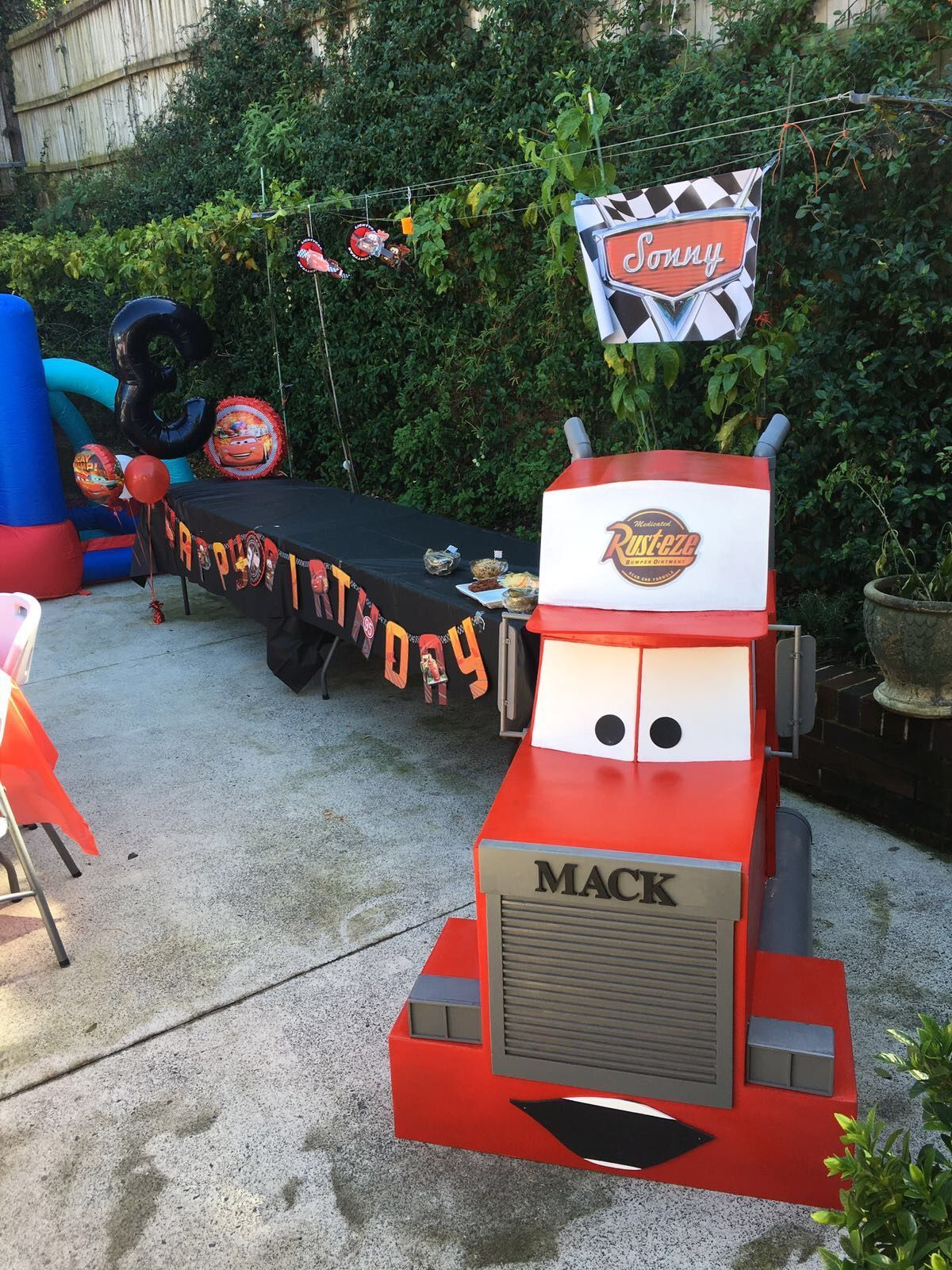 Disney Cars Party Mack Truck Party Table Cars Birthday Party Disney Disney Cars Party Cars Theme Birthday Party