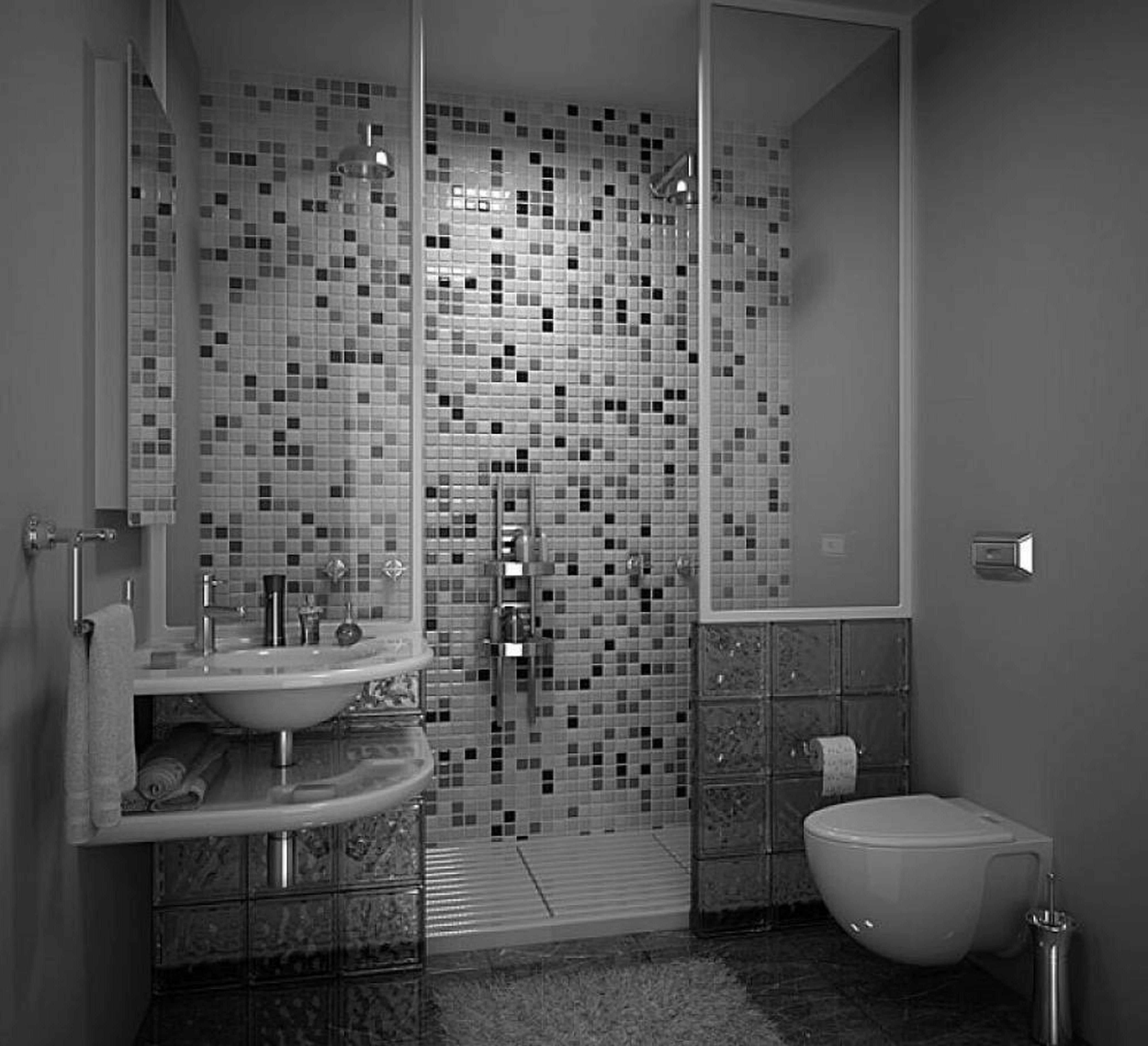 Agreeable Tiny Grey Bathrooms Ideas With Modern Walk In Shower Also Console  Vanity As Well As