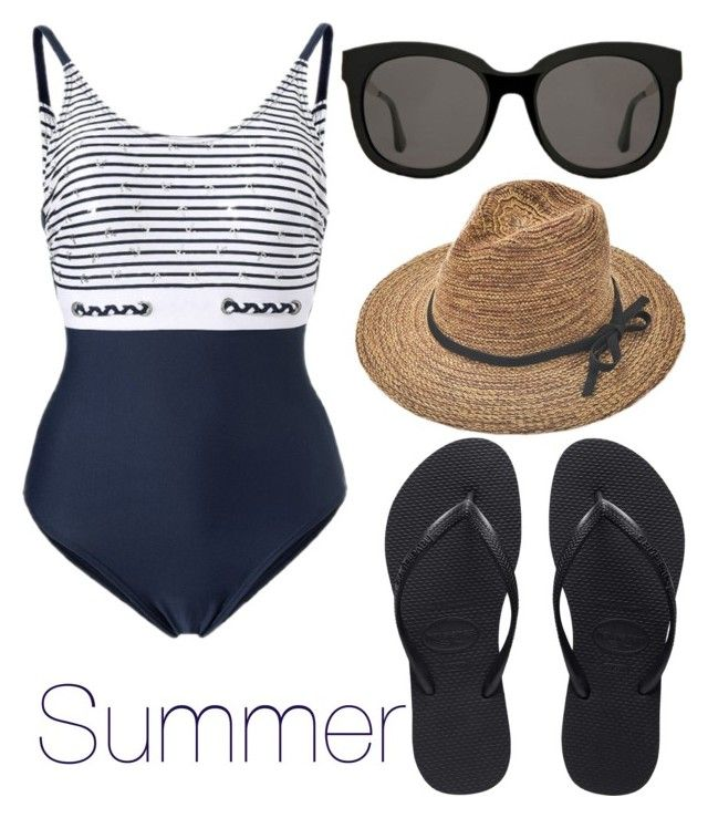 """summer"" by alinapetrushenko ❤ liked on Polyvore featuring Havaianas and Gentle Monster"